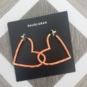 NWT BaubleBar Coral Annaelle Heart Hoop Earrings